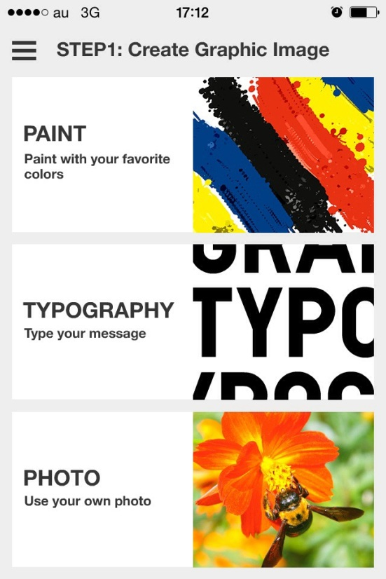 The first option is to paint, type or upload a photo